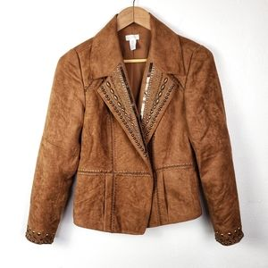 CHICOS Brown Tan Suede Embellished Blazer Jacket 0